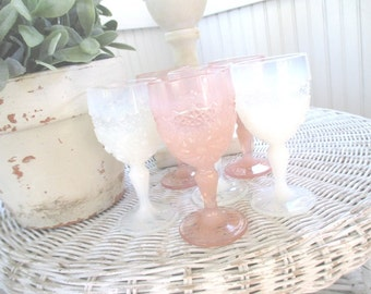 Vintage Cordials * Glasses * Shabby Chic * Pink * White * Iridescent