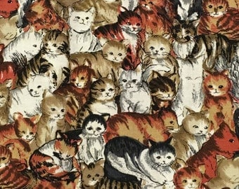 2 1/2 yards 48 wide CAT print cotton quilt fabric