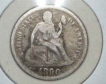 Liberty Seated 1890 US 90% Silver Dime / US Coin / Nice Liberty Detail