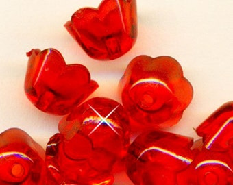 Vintage 24 Crystal Clear Cherry Red Tulip 10MM FLOWER Beads BL4