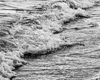 Beach Photography, Nautical Wall Decor, Crashing Waves, Ocean Photograph, Fine Art Photo, Coastline, Seaside, New England, Salt Water, Grey