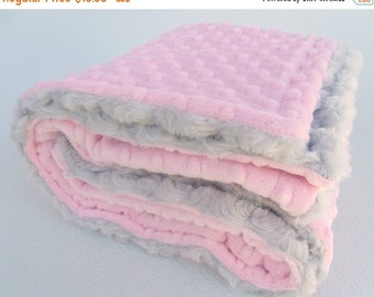 ON SALE Light Pink and Gray Minky Baby Blanket - Silver Rose Swirl for girl