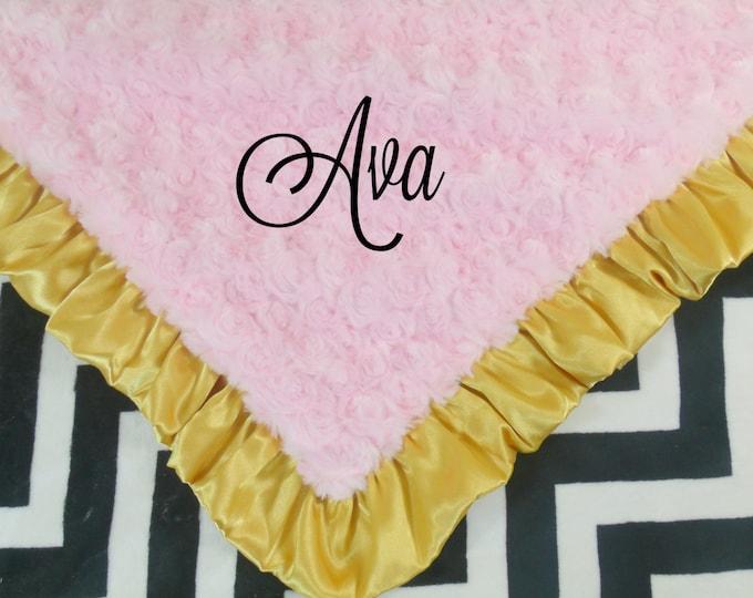 Black Chevron  Pink Minky Baby Blanket, Gold Ruffle, 3 sizes