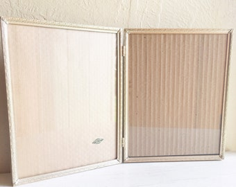 Beautiful Vintage Folding 8x10 Gold Metal Picture Frame Bi-fold Filigree Corners