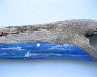 Driftwood, Painted Driftwood, Sailing, Beach Decor, Desk Ornament, by gardenstones on etsy