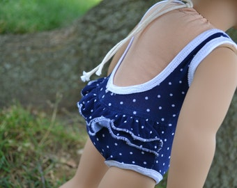 18 inch Doll Clothes, Polka Dot Swimsuit, Navy White, Pool Style Beachwear, Ruffle Butt,  fit American Girl