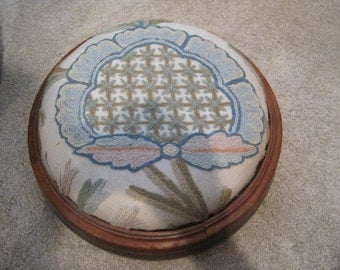 Antique Footstool With Crewel Embroidery Upholstery