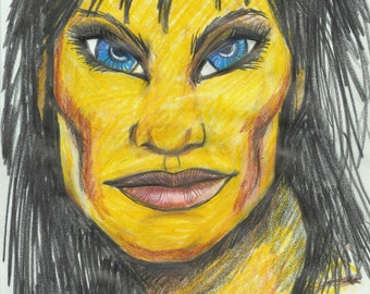 OOAK original art, portrait, Blue eyes,