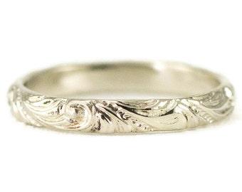 14k White Gold Wedding Band - Vintage Inspired 3mm Wedding Ring
