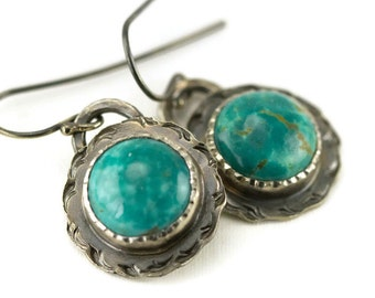 Kingman Turquoise Earrings - Small Turquoise Round Earrings