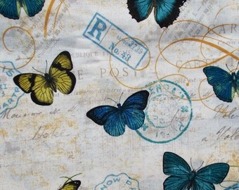 French Post Stamp Paris Butterfly Fabric Papillon  Fabric Blue Butterfly Paris France Cotton Quilt Fabric 2 Yards