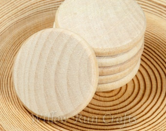 50 pcs 1 inch Wood Circle Disc, 25mm Wood Circles Smooth Edges (23-20-150)