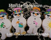 Snowmen Cookies - Florida Snowman Cookies - Snowman Decorated Cookies - 12 Cookies
