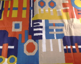 Vintage Midcentury Retro Block Bold Colors Pattern Fabric 5th Avenue Designs Screen Printed, 40 x 60 Inches