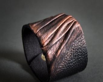 50% OFF SALE Elegant leather  bracelet cuff Statement jewelry Wide wristband Copper color
