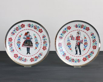 Vintage Epiag Hand Decorated Wall Plates - Traditional Folk Man and Woman