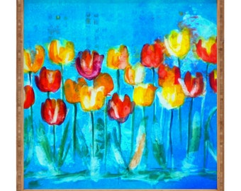 Colorful Tulips in Blue Square Tray