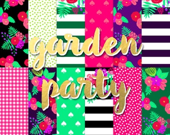 Buy2Get1Free with Code XMASINJULY! Garden Party Digital Paper Pack (Instant Download)