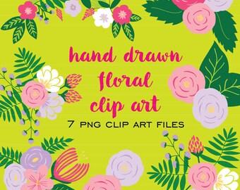 Hand Drawn Floral Clip Art V.2  (Instant Download)