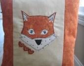 Fox Pillow, Accent Pillow, Appliqued Fox Pillow, Fox Home Decor, Appliqued Pillow, Free-Motion, Appliqued Fox Pillow, Fabric Collage,