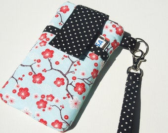 WRISTLET cell phone sleeve purse, cell phone bag, travel case bag cell phone, smart phone holder sleeve - blossom spring
