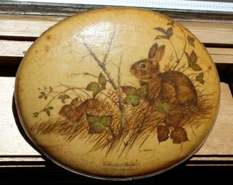 Vintage Decoupaged Cottontail Rabbit Plaque by J. Lockhart, 1950's or 1960's Era