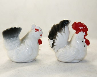 Why did the chicken cross the road  - 1950s chicken salt pepper shaker set