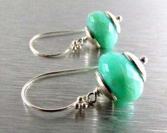 25% Off Summer Sale Peruvian Opal And Sterling Silver Drop Earrings