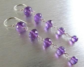 25% Off Summer Sale Amethyst Gemstone Column Sterling Silver Earrings