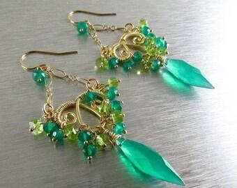 BIGGEST SALE EVER Green Onyx Marquis Earrings - Jungle Vines