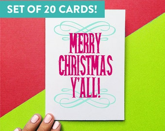 set of 20 merry christmas y'all southern holiday greeting cards, hostess gift, christmas cards, letterhappy