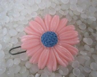 vintage barrette pink daisy, children vintag barette