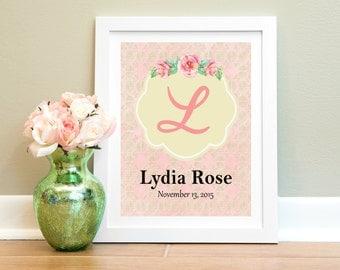 Personalized Nursery Print, Baby Girl Nursery Wall Art, Custom Name Print, Nursery Decor, Girl Wall Art, Floral Monogram, Pink Gold Nursery