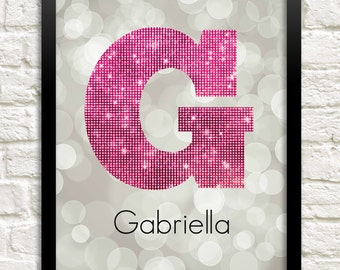 Personalized Letter Art Print, Girl Room Art, Custom Name Print, Kids Room Decor, Child Wall Art, Teen Girl Decor, Baby Girl Nursery Art