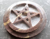 Wicca Pagan Supplies - Witch Pentacle Altar Stone - Star Pentacle Altar Tablet - Soapstone Tile