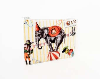 Fabric Zipper Pouch, Vintage Circus Pouch, Coin Purse, Change Pouch, Canvas Zipper Case, Small Pouch, Small Cosmetic Bag, Small Zipper Case
