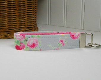 Key Fob Wristlet, Keychain, Fabric Key Fob ..Flower Sugar Roses in Gray