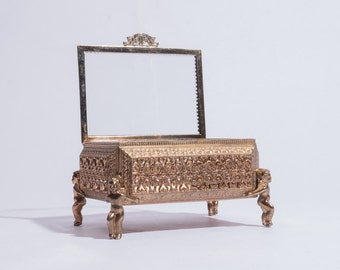 1960's Filigre Metal Jewelry Box with Cherubs