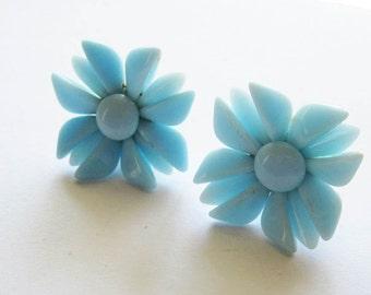 Vintage Blue Glass Flower Earrings