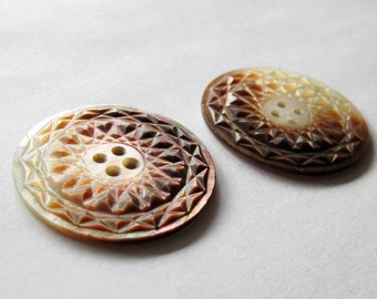 Vintage Large Carved Shell Buttons