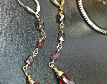 CUPID SALE Long Garnet Earrings Linear Red Statement Earrings Red Garnet Gemstone Long Dangling Earrings Wire Wrap Garnet Bagette Earrings
