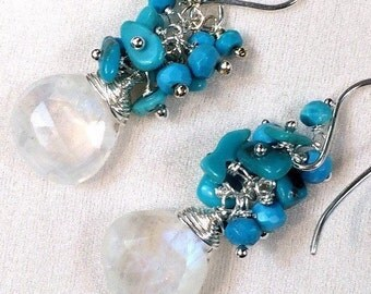 Turquoise Cluster Earrings Rainbow Moonstone Gemstone Wire Wrap Cluster Sleeping Beauty Turquoise Nuggets, Sterling Silver Earrings