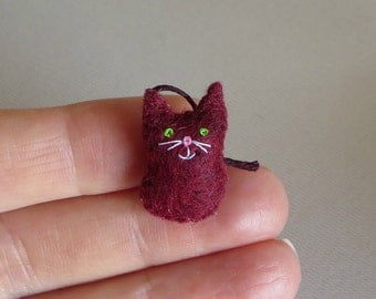 Burgundy cat miniature felt plush toy