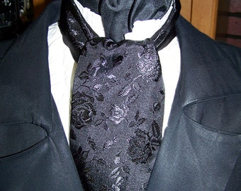 "Ascot or Cravet black rose brocade print 4"" x 57"" Mens Wedding, cravat tie with matching pocket puff"