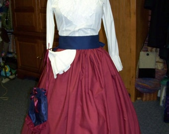 Ladies Civil War Skirt Dicken's Victorian Long drawstring SKIRT burgundy Solid cotton fabric and one size fit all