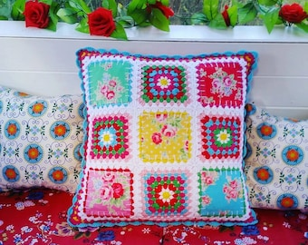 Granny Patch cushion, crochet and fabric fusion cushion, patchwork and granny squares cushion