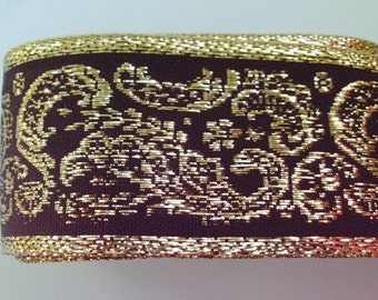 1.5 yds Black Gold Metallic Woven Trim 1.5 inches wide