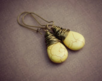 Yellow Drop Earrings, DarkYellow Earrings, Mustard Dangle Earrings, Yellow Spice Earrings, Rustic Tribal Earrings, Brown Jewelry Earrings