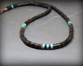 Mens Necklace, Turquoise Necklace, Native American, Heishi Necklace, Beaded Mens Necklace, Jewelry for Men, Mens Jewelry