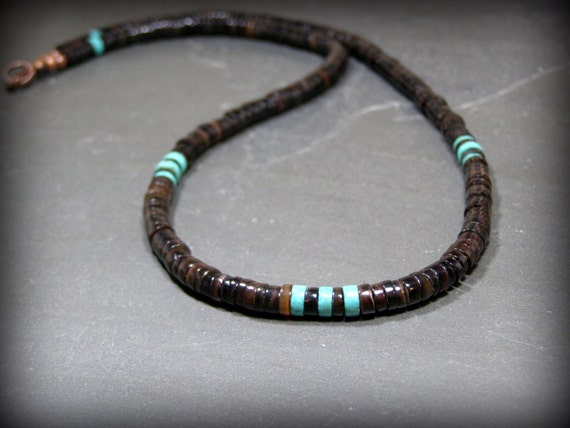 Mens Necklace Turquoise Necklace Native American Heishi